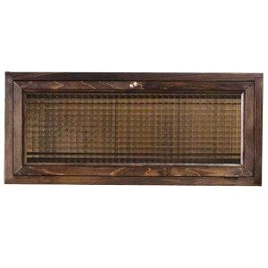 キャビネット木製ひのきダークブラウンフランス製チェッカーガラス横型60×15×26cmおうちカフェキッチンカウンター上収納