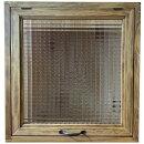 突き出し窓チェッカーガラス採光窓フラップアップ式両面仕様46×16×48cm扉の厚み3cmアンティークブラウン木製ひのきハンドメイドオーダーメイド