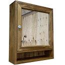 ミラーキャビネットミラー扉洗面所収納背板付き48×15×58cmアンティークブラウン木製ひのきハンドメイドオーダーメイド