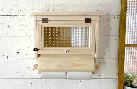トイレットペーパーホルダーチェッカーガラス扉無塗装白木ダブルペーパーホルダー2個用ストックボックス付き木製ひのきハンドメイド受注製作