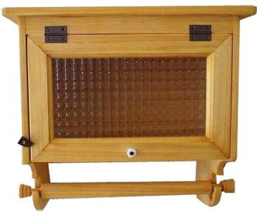 キッチンペーパーホルダー チェッカーガラス扉 w36d22h35cm ナチュラル 海外サイズ(280cm 壁かけ スパイスラック) 木製 ひのき オーダーメイド 1327933
