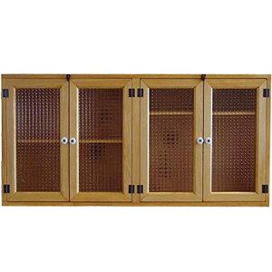 吊戸棚木製ひのきナチュラルチェッカーガラス扉大きな横型キャビネット吊り戸棚ウォールキャビネット