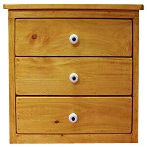 三段小引出し木製ひのきナチュラルミニチェスト卓上ドロワー三段30×29×30cm
