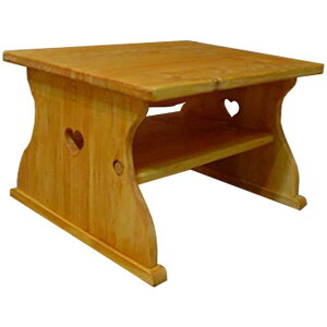 テーブル木製ひのきハートくり抜きナチュラルミニテーブルちゃぶ台ローテーブル50×40×30cm棚つき