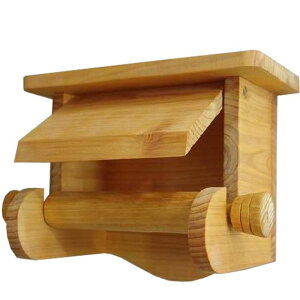 ナチュラル◇押さえカバー付き木製シェルフトイレットペーパーホルダー