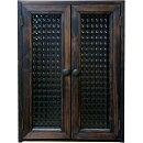 ペットのお仏壇木製つまみチェッカーガラス扉28x25x38cmダークブラウン木製ひのきハンドメイドオーダーメイド