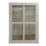 FIX窓 木製 ひのき 採光窓 飾り窓 アンティークホワイト チェッカーガラスの室内窓 フィックス窓 両面桟入り 42×58cm・厚み3.5cm オーダーメイド 1134626