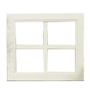 ウッドフレーム木製ひのき窓枠ガラスが入っていないウィンドウフレーム片面仕様桟入りフレーム40×2×35cmアンティークホワイト