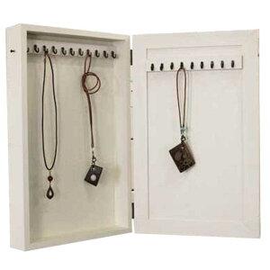 アクセサリーケース木製ひのき壁掛けフック付きジュエリーケース25×7×40cm(アンティークホワイト)