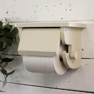 トイレットペーパーホルダー木製ひのき押さえカバー付きシェルフ奥行き広めアメリカンサイズ(太巻きペーパー)(アンティークホワイト)