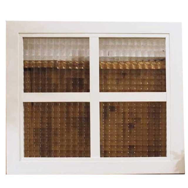 ガラスフレーム チェッカーガラス アンティークホワイト 桟入り ガラス窓 40×2×35cm フィックス窓 明り取り窓 室内窓 北欧 木製 ひのき オーダーメイド 1628406