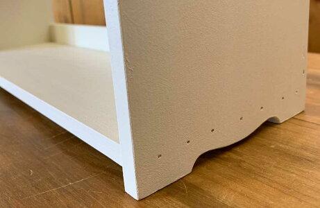 三段スパイスラックチェッカーガラス扉アンティークホワイト木製ひのきハンドメイド受注製作