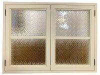 室内窓アンティークホワイトフローラガラス扉内側のみアイアン取手マグネット仕様80×60cm扉厚み3cm木製ひのきハンドメイドオーダーメイド1134626