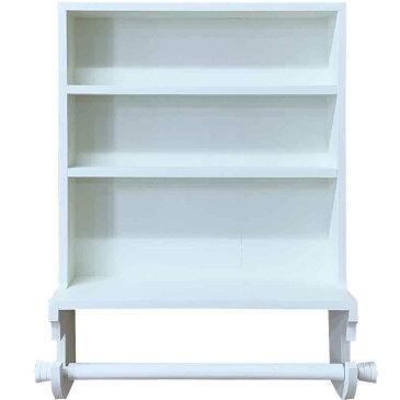 キッチンペーパーホルダー コストコサイズ280mm キャビネット 壁掛け 38×15×53.5cm アンティークホワイト 木製 ひのき ハンドメイド オーダーメイド 1327933