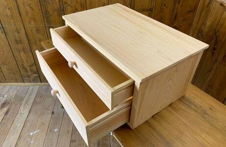 二段小引き出し木製つまみライトオークw52d32h25cmドロワーチェストハンドメイド木製ひのき受注製作