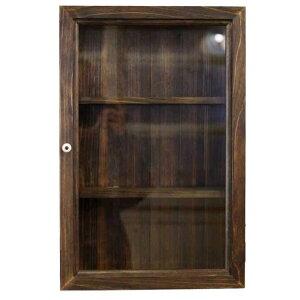 コレクションケース木製ひのき透明ガラス扉壁掛け棚付きディスプレイケースガラスケース29×10×44cm無塗装白木
