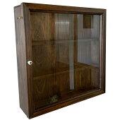 壁掛けコレクションケース透明ガラス扉三段棚40×10×40cmダークブラウン木製ひのき受注製作ID1072982