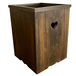 ダストボックスハートくり抜きダークブラウンハンドメイドひのき木製受注製作