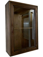 コレクションケース透明ガラス扉ブロンズ取手二段棚29x13x44cmアンティークブラウン壁掛け木製ひのきハンドメイドオーダーメイド1134626