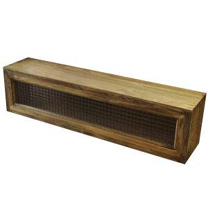 キッチンカウンター上収納木製ひのきアンティークブラウンチェッカーガラスキッチン見せる収納ボックススパイスラック食器棚おうちカフェ