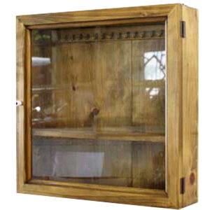 コレクションケース木製ひのきフック・棚付きアクセサリーケース40×10×40cm透明ガラス扉壁掛けガラスケース(アンティークブラウン)