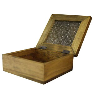ジュエリーケース木製ひのきアンティーク調フローラガラスの小物入れ17×16.5×7cmアクセサリーボックスアンティークブラウン