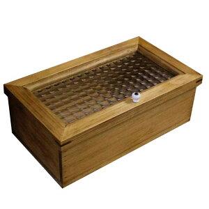 アクセサリーケース木製ひのきフランス製チェッカーガラス小物入れ28×16×10cmジュエリーボックスアンティークブラウン