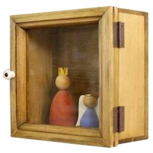 コレクションケース木製ひのき透明ガラス扉アクセサリーケース17×9×17cm壁掛けガラスケースディスプレイケース(アンティークブラウン)