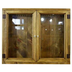アンティークブラウン透明ガラス両開き扉のアクセサリーケースL字フック付き◇ディスプレイケース