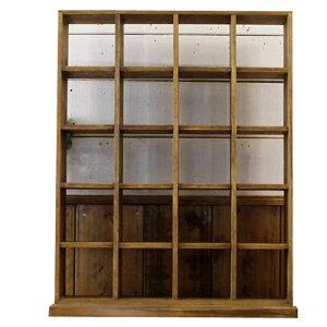シェルフ木製ひのきマス目シェルフスタンドコレクションシェルフディスプレイボックスマス目棚アンティークブラウン