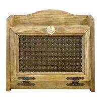 ブレッドケース ミディアムサイズ w30d21h26cm アンティークブラウン チェッカーガラス扉 パンプキンノブ 国産ひのき 木製 オーダーメイド 1542638