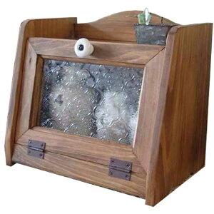 ブレッドケース木製ひのきアンティーク調家具フローラガラス扉ミニミニサイズ25×17×22cmアンティークブラウン