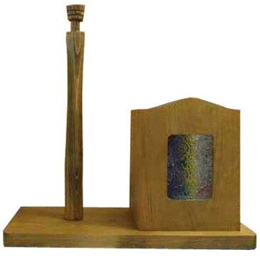 ラップホルダー&キッチンペーパースタンド フローラガラス w34d16h36cm アンティークブラウン コストコサイズ280mm 木製 ひのき オーダーメイド 1327933