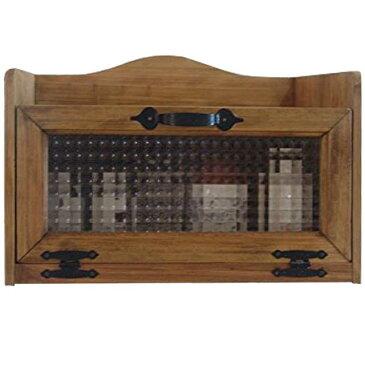 トースター台 木製 ひのき アンティークブラウン フランス製チェッカーガラス扉 40×30×27cm オーブン台 レンジ台 電話台 FAX台 収納キャビネット アイアン取っ手 受注製作