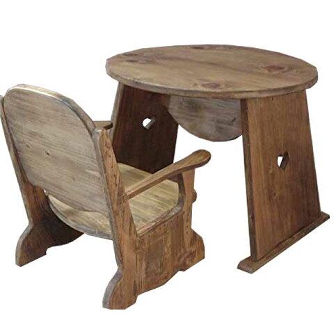 丸テーブル チャイルドチェア アンティークブラウン ハート キッズテーブル キッズチェア 木製 ひのき オーダーメイド 1380051