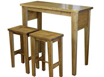 カウンターテーブル(下棚なし)&角型スツール(高さ60cm)2脚セット 木製 ひのき(アンティークブラウン)受注製作