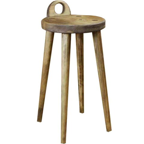 ラウンドチェア 丸椅子 アンティークブラウン w25d25h44cm 持ち手付き 木製 ひのき オーダーメイド 1380051