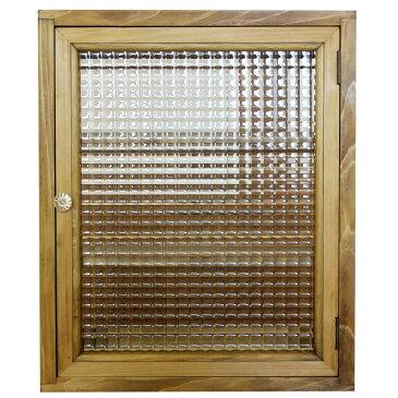 トイレットペーパーキャビネット(ニッチ用埋め込みタイプ)アンティークブラウン フランス製チェッカーガラス パンプキンノブ 木製 ひのき 受注製作