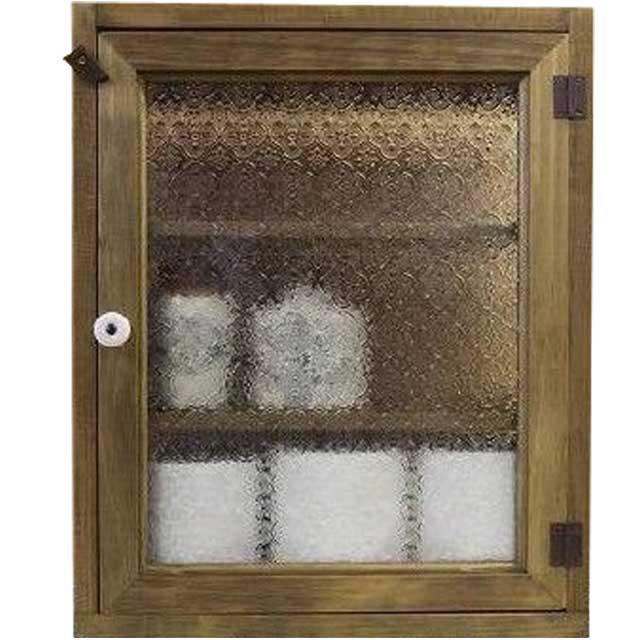 トイレットペーパーキャビネット フローラガラス アンティークブラウン w38d14h46cm 背板なし 木製 ヒノキ オーダーメイド 1509042