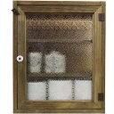 トイレットペーパーキャビネット フローラガラス アンティークブラウン w38d14h46cm 背板なし 木製 ヒノキ オーダーメイド