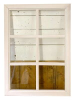 室内窓透明ガラス両面桟入り52×72cm・厚み3.5cmホワイトステインハンドメイド木製ひのき受注製作