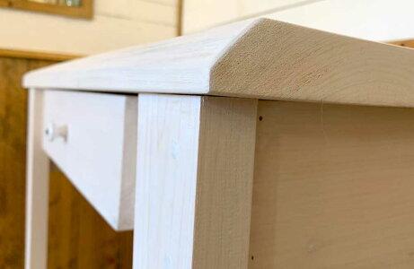パソコンデスクホワイトステイン白つまみ70x40x80cm自然木耳付き木製ひのき受注製作