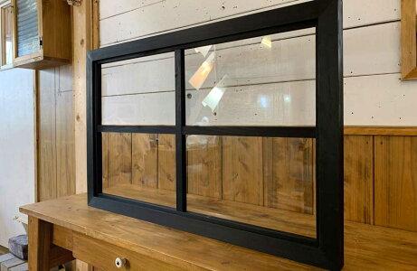室内窓ブラックオイルステインw78d3.5h50cm透明ガラス両面桟入り木製ひのきハンドメイド受注製作