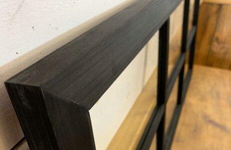ガラスフレームブラックオイルステイン透明ガラス両面仕様桟入り100×45cm・厚み2.5cm木製ひのきハンドメイドオーダーメイド1134626