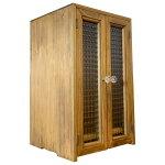 ペット仏壇台座付きチェッカーガラス扉アンティークブラウンw27d25h44木製ひのきハンドメイド受注製作