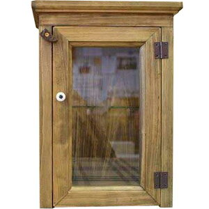 キャビネット側面チェッカーガラスアンティークブラウンw23d13h32cm透明ガラス扉のミニミニキャビネットひのき受注製作