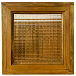 フィックス窓チェッカーガラスアンティークブラウン30×10×30cm木製ひのきハンドメイド受注製作