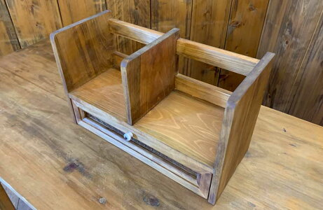 ブックスタンドチェッカーガラス引出し白つまみ33x14x20cmアンティークブラウン木製ひのきハンドメイド受注製作