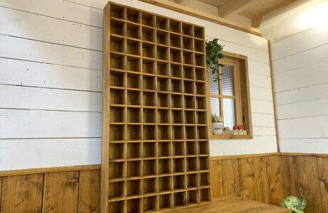 コレクションシェルフw64d9h109cmアンティークブラウン裏板付き木製ひのきハンドメイド受注製作