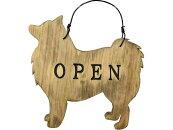 OPEN&CLOSEプレートスピッツアンティークブラウンひのき木製ハンドメイドオーダーメイド